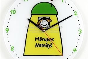 Sieninis laikrodis su permatomo ar matinio stiklo  korpusu 30 cm