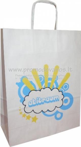 Popieriniai maišeliai su susuktomis popierinėmis rankenomis