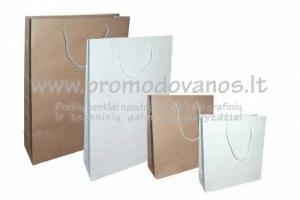 Kraftinio popieriaus maišeliai 24 x 9 x 33 cm su virvelinėmis rankenom