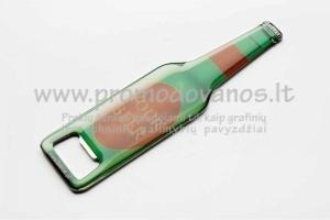 Metaliniai butelių atidarytuvai su iškiliu lipduku