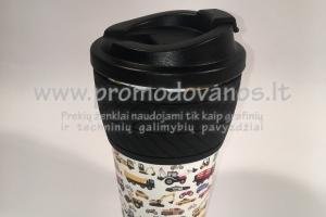 Termo puodelis su užsukamu dangteliu 350 ml, su silikonine juosta