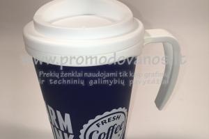 Termo puodelis su užsukamu dangteliu 350 ml, su rankenėle