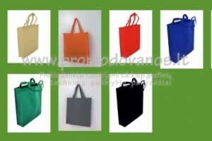 Medžiaginiai maišeliai 38x42x10 su dugnu cm, pusiau trumpomis rankenomis 48 cm