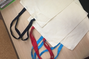 Medvilninis maišelis PRAHA ilgomis spalvotomis rankenomis 38x42 cm
