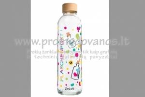 Stikliniai buteliai-gertuvės su spauda