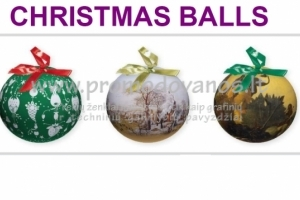Kalėdiniai, popieriniai, dekupažiniai žaisliukai-burbulai 75 mm